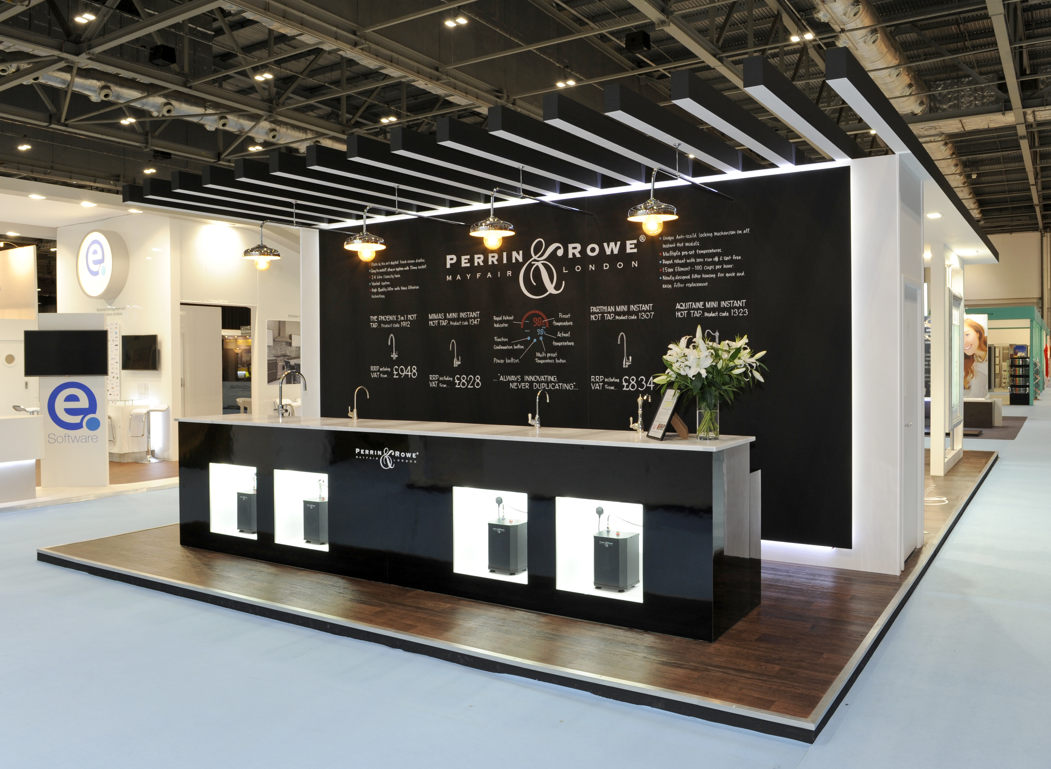 Bespoke Exhibition Stand Design : Perrin and rowe quantum exhibitions